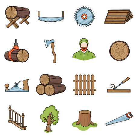timber: Sawmil and timber set icons in cartoon style. Big collection sawmill and timber vector symbol stock
