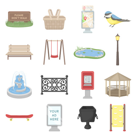 parus: Park set icons in cartoon style. Big collection park vector symbol stock