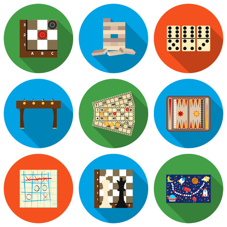 backgammon: Board games set icons in flat style. Big collection board games vector symbol stock Illustration