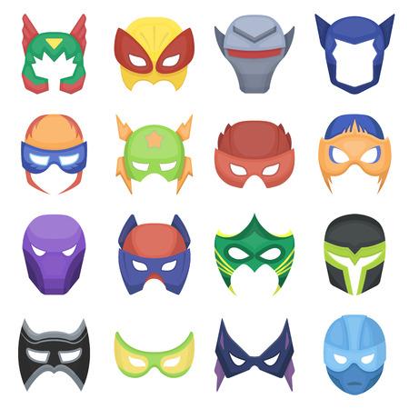 スーパー ヒーロー マスクは、漫画のスタイルのアイコンを設定します。大きなコレクション スーパー ヒーロー マスク ベクター シンボル素材