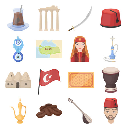 saz: Turkey set icons in cartoon style. Big collection Turkey vector symbol stock