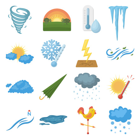 icicles: Weather set icons in cartoon style. Big collection weather vector symbol stock