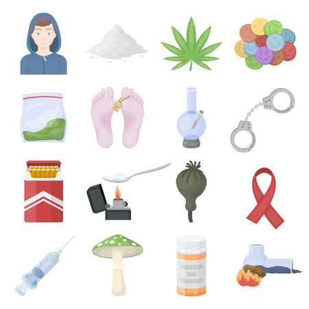 bong: Drugs set icons in cartoon style. Big collection drugs vector symbol stock