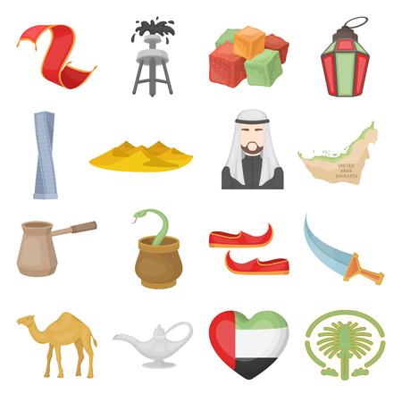 Arab Emirates set icons in cartoon style. Big collection Arab Emirates vector symbol stock