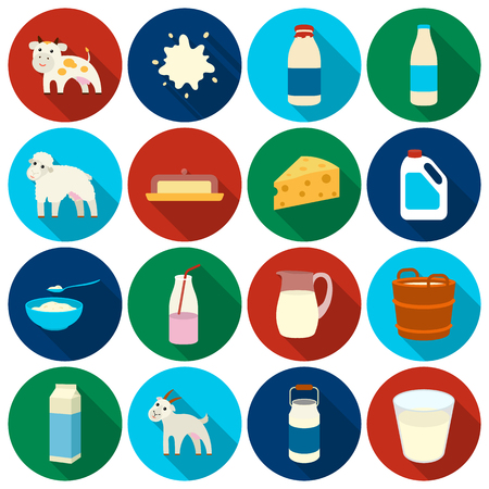 milk pail: Milk set icons in flat style. Big collection milk vector symbol stock