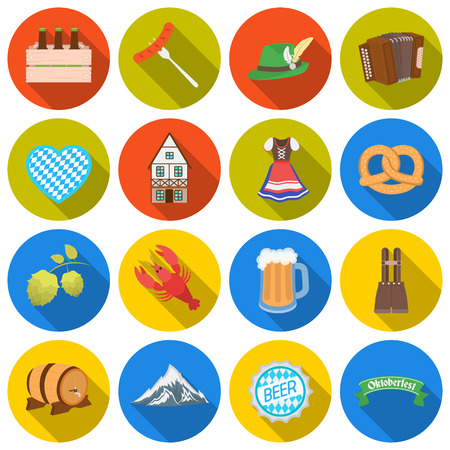 lederhosen: Oktoberfest set icons in flat style. Big collection Oktoberfest vector symbol stock