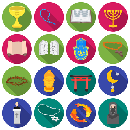 niqab: Religion set icons in flat style. Big collection religion vector symbol stock