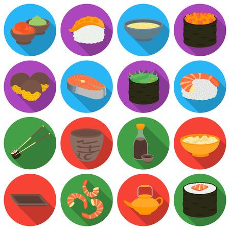 tetsubin: Sushi set icons in flat style. Big collection sushi vector symbol stock Illustration