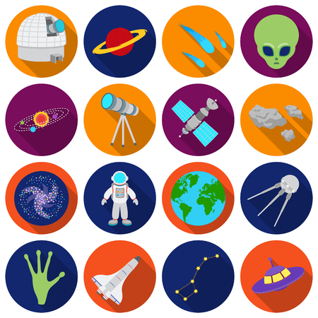 sputnik: Space set icons in flat style. Big collection space vector symbol stock
