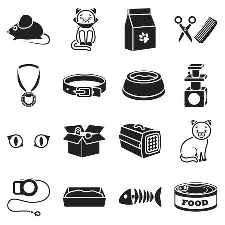 parody: Cat equipment set icons in black style. Big collection cat equipment vector symbol stock