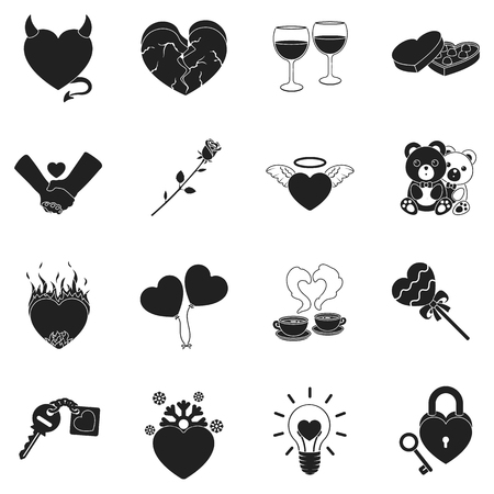 angelic: Romantic set icons in black style. Big collection romantic vector symbol stock