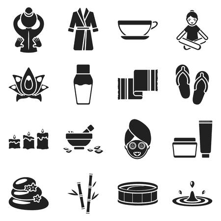 Spa définir des icônes dans le style noir. Big collection spa symbole de stock de vecteur