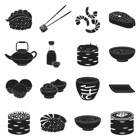 Sushi set icons in black style. Big collection sushi vector symbol stock