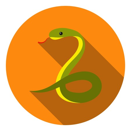 coldblooded: Snake icon in flat style isolated on white background. Animals symbol vector illustration.