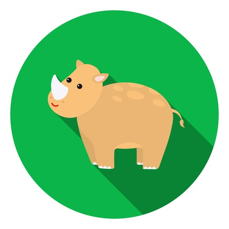 big foot: Rhinoceros icon in flat style isolated on white background. Animals symbol vector illustration. Illustration