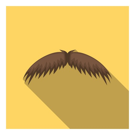 Mans mustache icon in flat style isolated on white background. Beard symbol vector illustration.