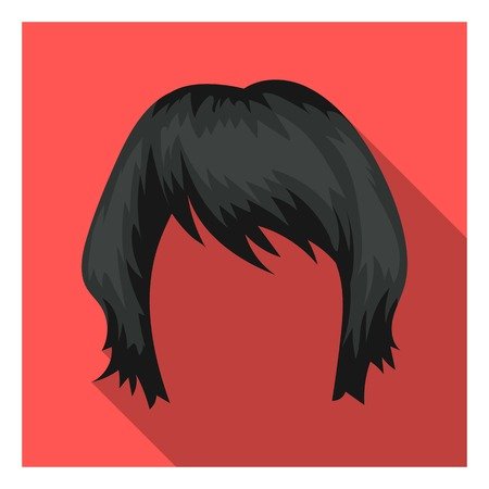 lenght: Womans hairstyle icon in flat style isolated on white background. Beard symbol vector illustration. Illustration