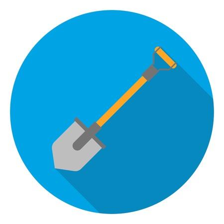 excavating: Shovel icon in flat style isolated on white background. Mine symbol vector illustration.