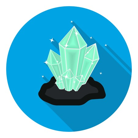 priceless: Crystals icon in flat style isolated on white background. Mine symbol vector illustration.