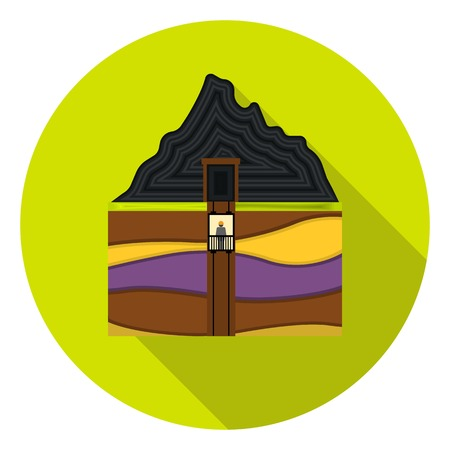 pit: Mine shaft icon in flat style isolated on white background. Mine symbol vector illustration.
