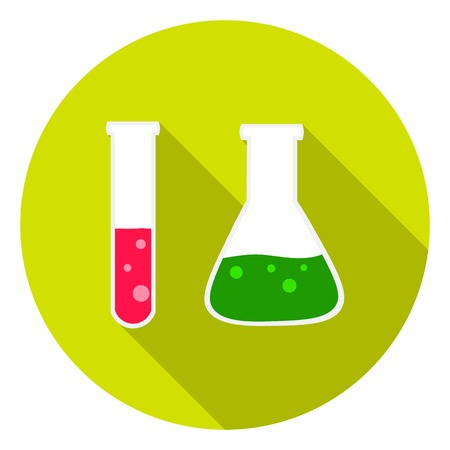 retort: Test tube and retort icon in flat style isolated on white background. School symbol vector illustration.