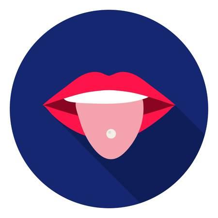 Pierced tongue icon in flat style isolated on white background. Tattoo symbol vector illustration. Ilustração
