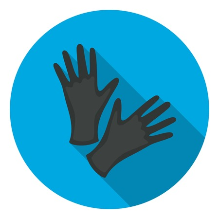 Black protective rubber gloves icon in flat style isolated on white background. Tattoo symbol vector illustration. Illustration