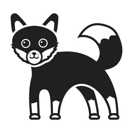 bushy: Fox icon in black style isolated on white background. Animals symbol vector illustration.