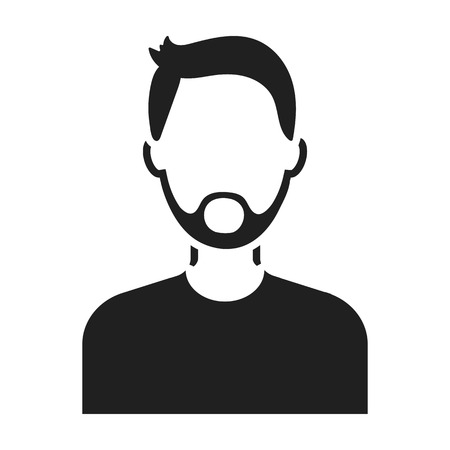 topknot: Man with beard icon in black style isolated on white background. Avatar symbol vector illustration Illustration