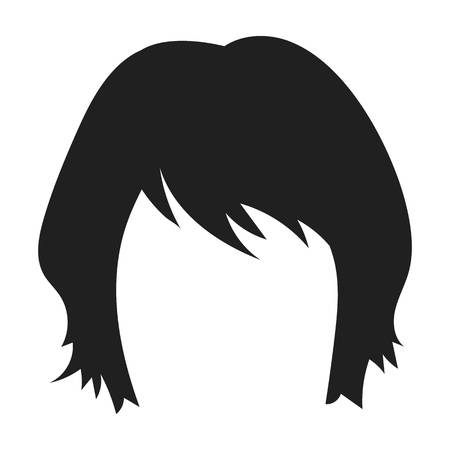 lenght: Womans hairstyle icon in black style isolated on white background. Beard symbol vector illustration. Illustration