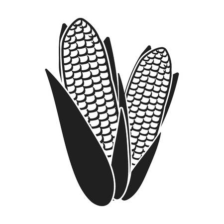 thanksgiving day symbol: Sweet corn icon in black style isolated on white background. Canadian Thanksgiving Day symbol vector illustration.