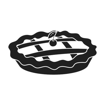 thanksgiving day symbol: Thanksgiving pie icon in black style isolated on white background. Canadian Thanksgiving Day symbol vector illustration.