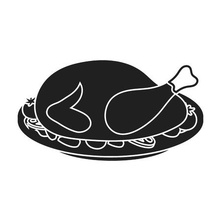 thanksgiving day symbol: Roasted turkey icon in black style isolated on white background. Canadian Thanksgiving Day symbol vector illustration. Vettoriali