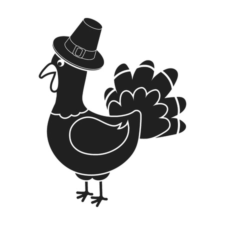 thanksgiving day symbol: Turkey icon in black style isolated on white background. Canadian Thanksgiving Day symbol vector illustration. Vettoriali