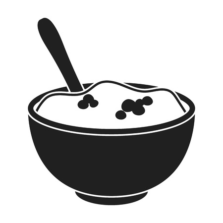 thanksgiving day symbol: Mashed potatoes icon in black style isolated on white background. Canadian Thanksgiving Day symbol vector illustration.