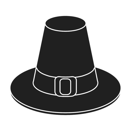 thanksgiving day symbol: Pilgrim hat icon in black style isolated on white background. Canadian Thanksgiving Day symbol vector illustration.