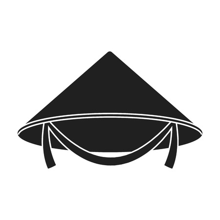 conical: Conical hat icon in black style isolated on white background. Hats symbol vector illustration. Illustration
