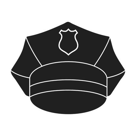 speciality: Police cap icon in black style isolated on white background. Hats symbol vector illustration.
