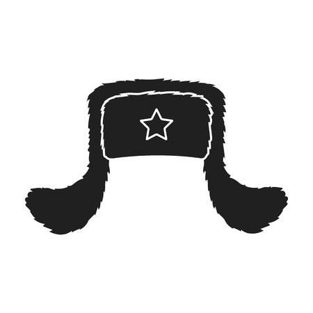 beanie: Ushanka icon in black style isolated on white background. Hats symbol vector illustration.