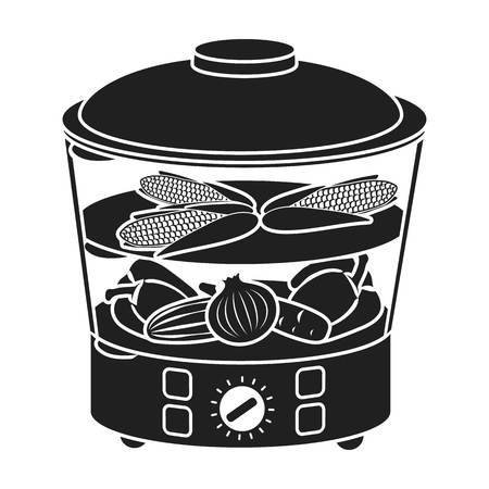 steam cooker: Food steamer icon in black style isolated on white background. Household appliance symbol vector illustration.