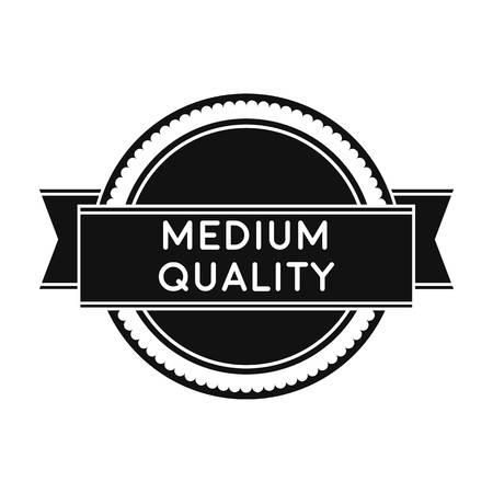 medium: Medium quality icon in black style isolated on white background. Label symbol vector illustration.