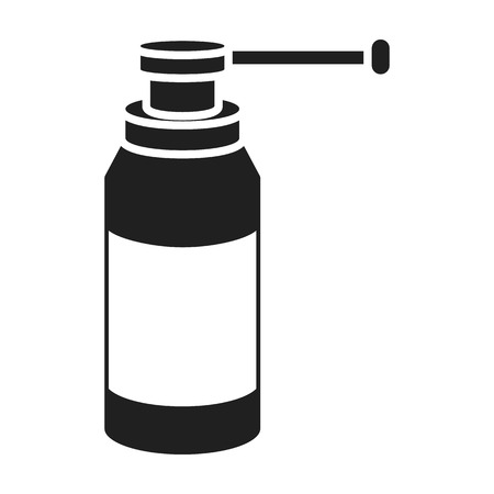 med: Throat spray icon in black style isolated on white background. Medicine and hospital symbol vector illustration.