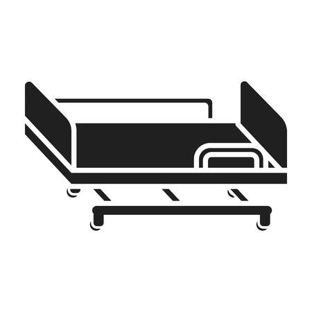 gurney: Hospital gurney icon in black style isolated on white background. Medicine and hospital symbol vector illustration. Illustration