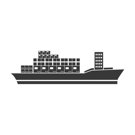 Cargo ship icon in black style isolated on white background. Logistic symbol vector illustration.