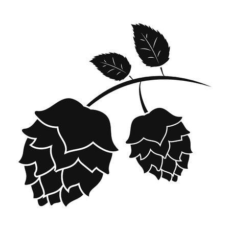 Hops icon in black style isolated on white background. Oktoberfest symbol vector illustration. Illustration