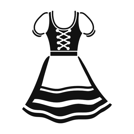 Dirndl icon in black style isolated on white background. Oktoberfest symbol vector illustration. Vettoriali