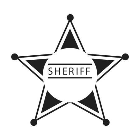 sherif: Sheriff icon in black style isolated on white background. Wlid west symbol vector illustration.