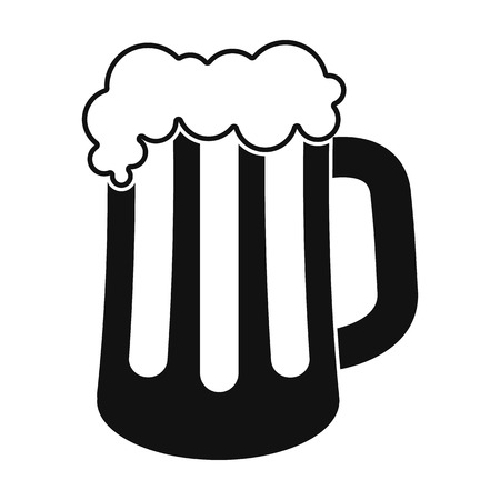 Beer mug icon in black style isolated on white background. Oktoberfest symbol vector illustration.