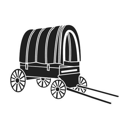 Cowboy wagon icon in black style isolated on white background. Wlid west symbol vector illustration.
