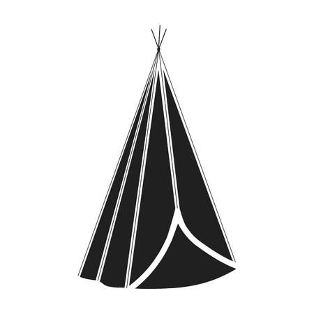 wigwam: Wigwam icon in black style isolated on white background. Wlid west symbol vector illustration.